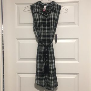 Plaid Dress in Mint and Black